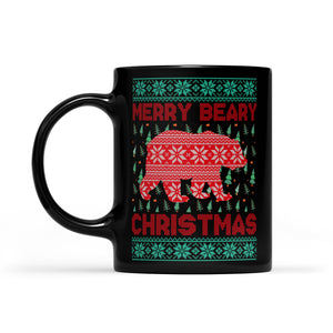 Funny Christmas Outfit - Merry Beary Christmas  Black Mug Gift For Christmas
