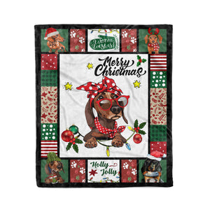 Have a Merry Christmas with your Dachshund fleece blanket - Funny Christmas pattern gift unique family gift for dog lover