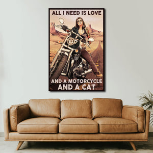 All I Need Is Love Cat And A Motorcycle And A Cat, Cat lover Canvas