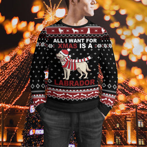 All I Want For Christmas Is A Labrador Sweater -Ugly Christmas Sweater - Labrador Ugly Sweater - Christmas Family Gift Idea