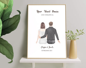 Custom couple gift, Poster and Canvas Couple Gifts, Engagement Gift  Personalised couple print, His and Hers gift, Boyfriend Gift, Girlfriend Gift, Anniversary Present Valentine's Day