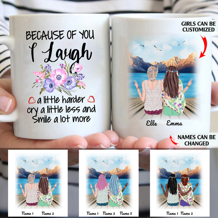 Because Of You I Cry A Litte Less And Smile A Lot More custom christmas mugs