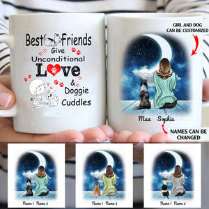 Best friends give inconditional love personalized dog and girl 11oz White Mug