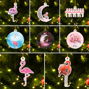 Christmas Flamingo Ornaments Set, Flamingo Ho Ho Ornaments, Funny Christmas Ornament Family Gift Idea For Flamingo Lover