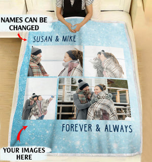 Our love is forever and always couple personalized fleece blanket gifts custom christmas blanket