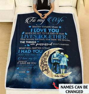 To my wife I love you because you are my life personalized fleece blanket gifts customized Christmas family gift idea