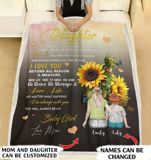 To my Daughter no one else will ever know the strength of my love for you personalized mom and daughter blanket custom christmas blanket gift