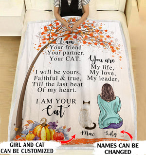 I'm your friend, your partner, your Cat personalized coffee blanket gifts custom christmas blanket