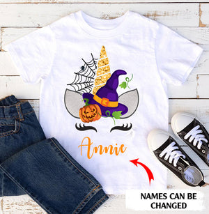 Funny personalized Halloween unicorn name standard T-shirt gift