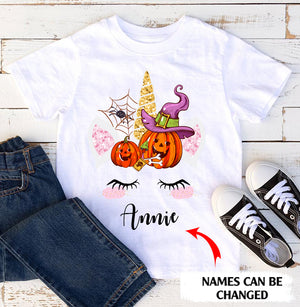 Personalized name funny Halloween unicorn standard T-shirt gift