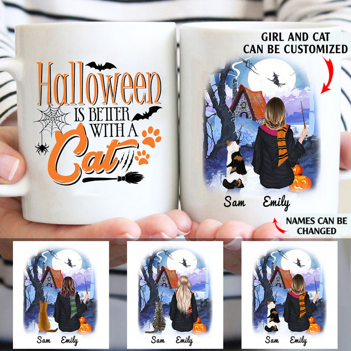 Halloween is better with a cat personalised gift customized mug mugs coffee mugs gifts custom christmas mug