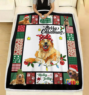 Have a Merry Christmas with your Golden Retriever fleece blanket - Funny Christmas pattern gift unique family gift for dog lover