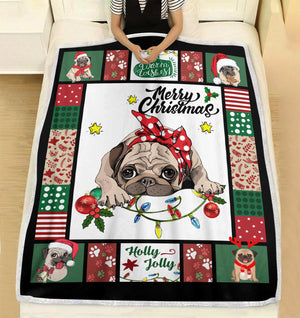Have a Merry Christmas with your Pug fleece blanket - Funny Christmas pattern gift unique family gift for dog lover