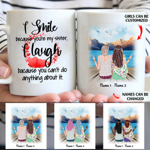 I Smile Because You're My Sister Personalized Sisters 11oz White Mug