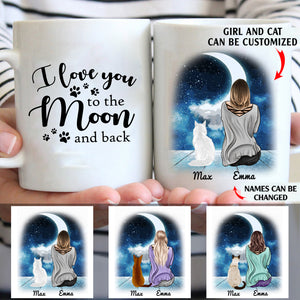 I love you to the moon and back personalized cat mom 11oz White Mug