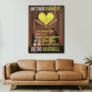 In This House We Do Baseball, Gift for Family, Baseball Lover Canvas