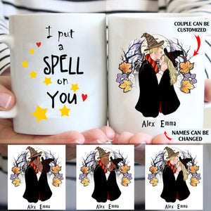 I put a spell on you personalized Halloween couple White Mug