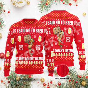 I said no to beer it just doesn't listen sweater Viking Funny Ugly Sweater Gift Idea For Men & Women