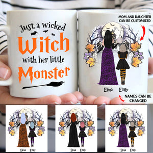 Just a wicked witch with her little monster personalised gift customized mug coffee mugs gifts custom christmas mugs