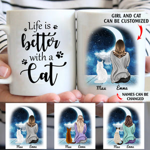 Life is better with a cat personalized cat mom 11oz White Mug