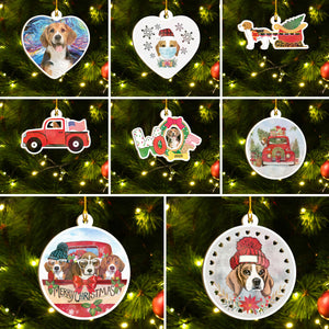 Merry Xmas Beagle Ornament Set, Merry Woofmas Ornament Set, Funny Xmas Ornament Family Gift Idea For Dog Lover