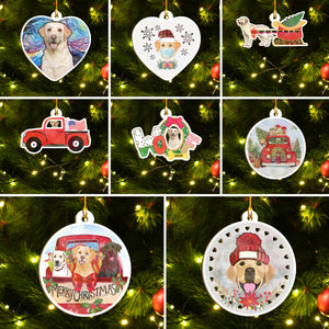 Merry Xmas Labrador Ornament Set, Merry Woofmas Ornament Set, Funny Xmas Ornament Family Gift Idea For Dog Lover