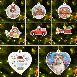 Merry Xmas Bulldog Ornament Set, Merry Woofmas Ornament Set, Funny Xmas Ornament Family Gift Idea For Dog Lover