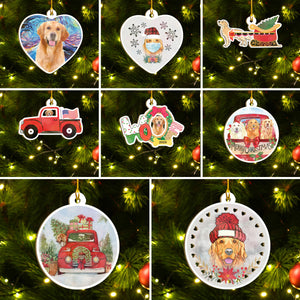 Merry Xmas Golden Retriever Ornament Set, Merry Woofmas Ornament Set, Funny Xmas Ornament Family Gift Idea For Dog Lover