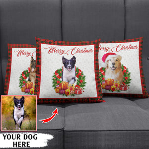 Merry Christmas funny buffalo plaid canvas pillow gifts christmas Canvas Pillow for dog lovers