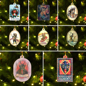 Merry Krampus Ornament Set, Dark Christmas Ornament Set, Christmas Family Gift Idea