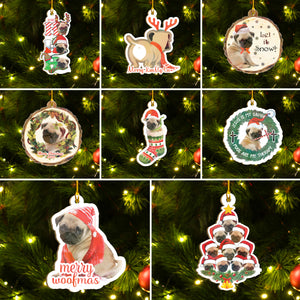 Merry Pugmas Ornaments Set, Merry Woofmas Ornaments, Funny Christmas Ornaments Family Gift Idea For Pug Lover