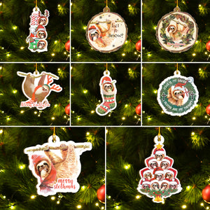 Merry Slothmas Ornaments Set, Funny Sloth Ornaments, Christmas Ornaments Family Gift Idea For Sloth Lover