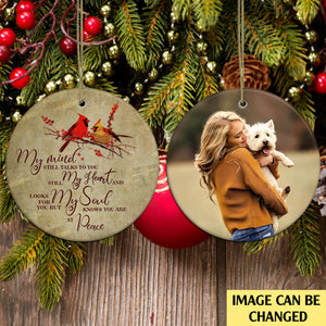My Mind Still Talks To You And My Heart Still Looks For You Personalized Ornament, Xmas Dog & Cat Ornament, Christmas Memorial Family Gift Idea For Dog & Cat Lovers