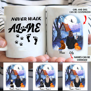 Never walk alone personalized Halloween dog mom 11oz White Mug