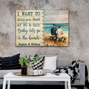 Old Couple At The Beach I want to hold your hand at 80, Personalized Canvas, Couple Canvas