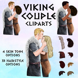 Couple Viking Clip Art Pack. Viking Couple Gifts. Romantic couple. Personalized couple gift. Viking Couple. Gorgeous Hairstyles. Viking Clipart