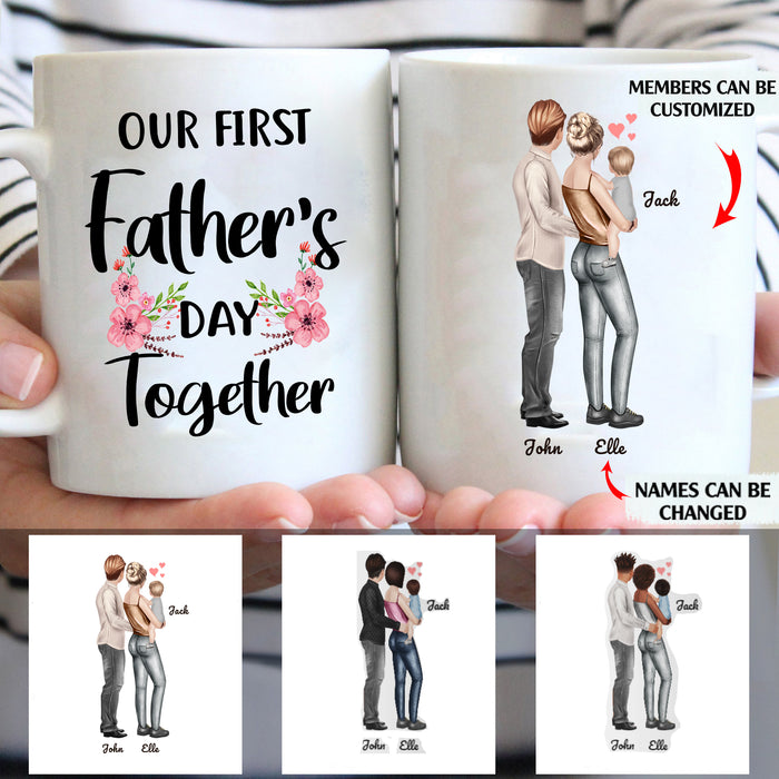 Our First Father's Day Together Personalized Family 11oz White Mug