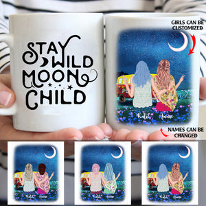 Stay Wild Moon Child Personalized Boho Sisters White Mug