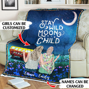 Stay Wild Moon Child Personalized Boho Sisters 60x80in Fleece Blanket