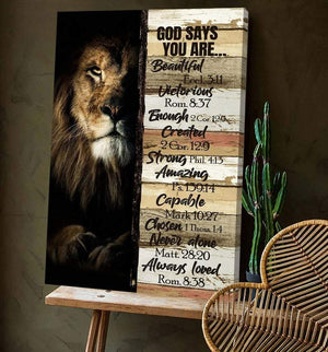 The lion - God say you are beautiful, God Canvas, Wall-art Canvas