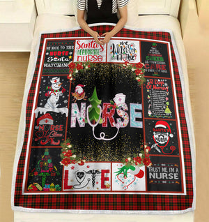 This is Santa's favorite nurse so be nice to the nurse Christmas fleece blanket - Funny Christmas family unique gift idea for nurse