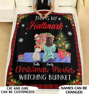This is my Christmas movies watching blanket cat mom personalized fleece blanket gifts custom christmas blanket