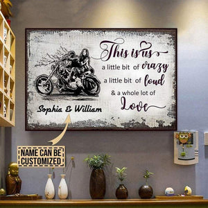 This is us - crazy - loud and a whole lot of love, Bicycle lover, Couple Canvas, Personalized Canvas