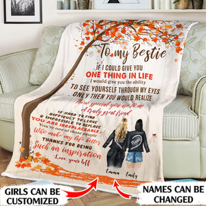 To my bestie Thanks for being such an inspiration personalized sisters 60x80in Fleece Blanket