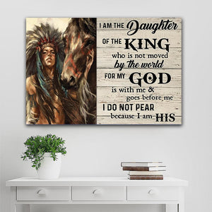 Native American - Girl's Daughter Of The King, Gift for her Canvas