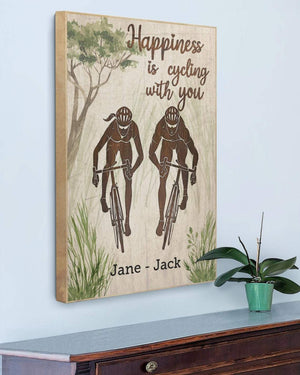 Happiness is cycling with you, Couple Canvas