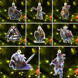 Viking Ornament Set, Viking Warrior Christmas Ornament Set, Merry Christmas Ornament Set Funny Family Gift Idea