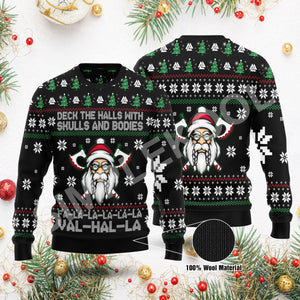 Viking Deck The Halls With Skulls And Bodies Ugly Sweater, Fa La La Vahalla Funny Sweater Viking Family Gift Idea