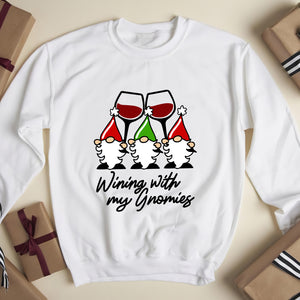 Wining with my Gnomies . Christmas wine glass Gnomes - funny sweatshirt gifts christmas ugly sweater for men and women