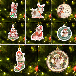 Xmas Bulldog Ornaments Set, Merry Woofmas Ornaments Set, Funny Christmas Ornaments Family Gift Idea For Dog Lover